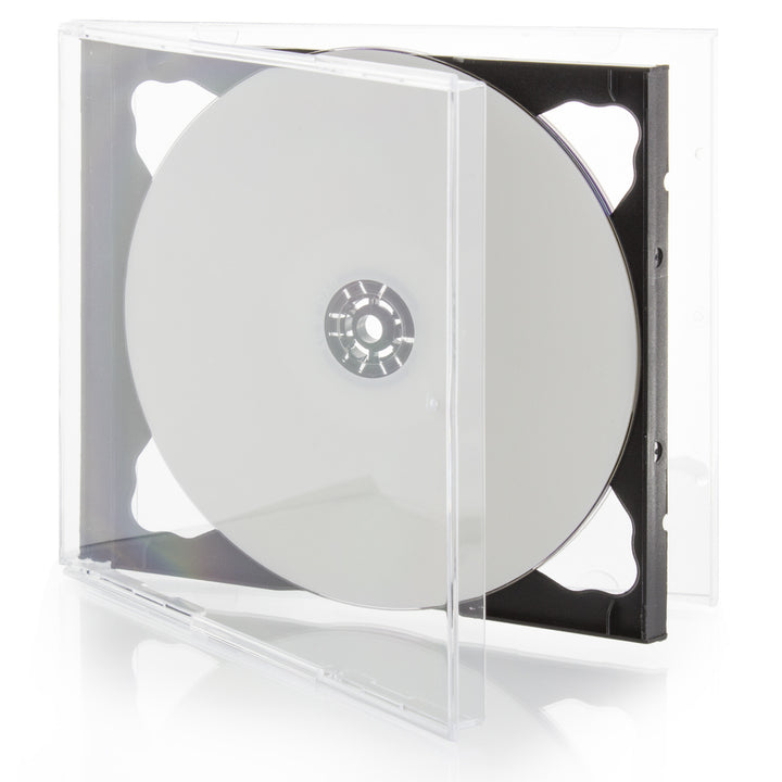 SuperMediaStore 10.4mm Premium 2 Disc Black CD DVD Jewel Cases - 100 Pack