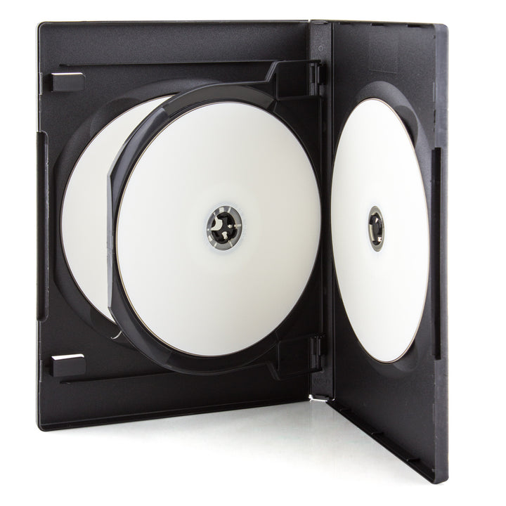 LINKYO 14mm High Quality 4 Disc Black CD DVD Cases - 50 Pack