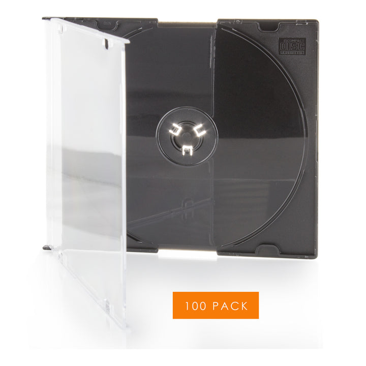 LINKYO 5.2mm Premium Slim Single Black CD DVD Jewel Cases - 100 Pack