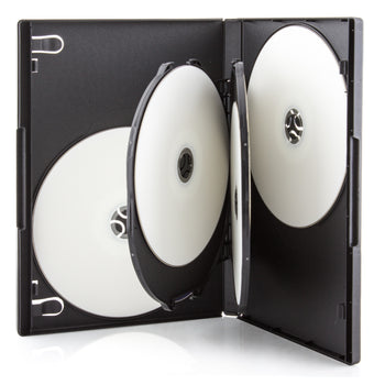 SuperMediaStore 14mm Premium 6 Disc Black CD DVD Cases with 2 Trays - 50 Pack