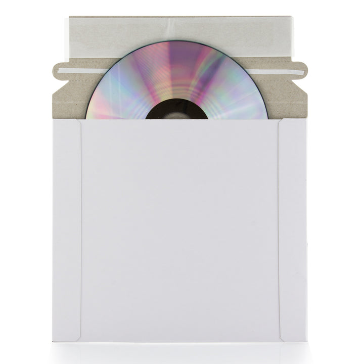 SuperMediaStore 6 3/8 x 6 Inch White Cardboard CD/DVD Mailer With Flap and Seal 25 Pack