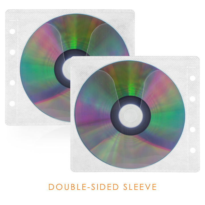 SuperMediaStore CD Double-sided White Refill Sleeve holds 2 Discs 50 Pack