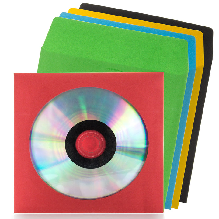 LINKYO 100 Gram Assorted Color Single Clear Window CD DVD Paper Sleeves - 100 Pack