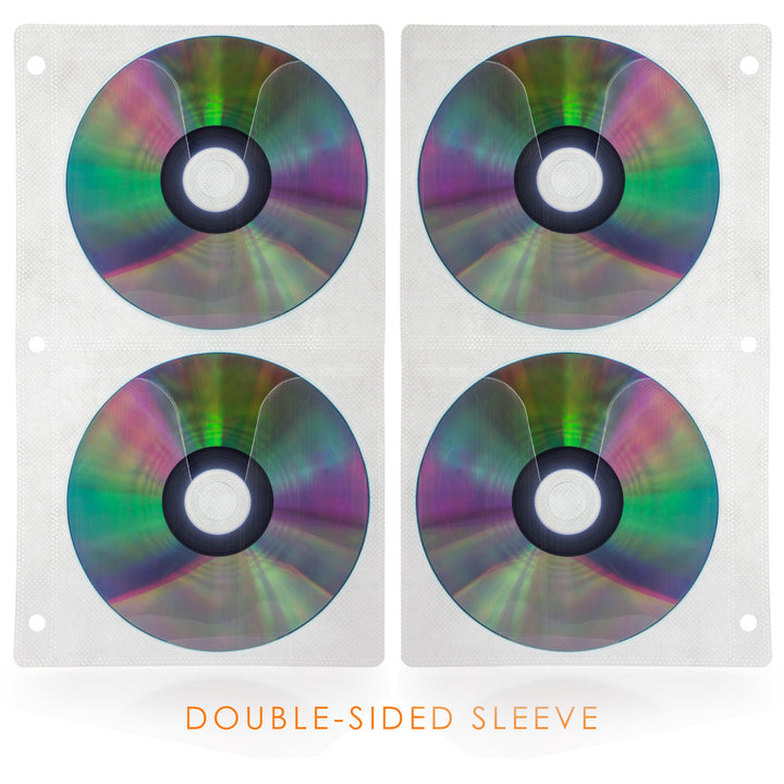 SuperMediaStore CD Double-Sided White Refill Sleeve holds 4 Discs 25 Pack