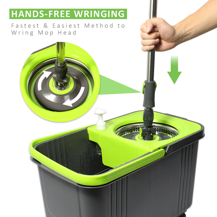 LINKYO Spin Wring Mop Bucket System - Microfiber Mop with Easy Wringer Bucket