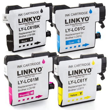 LINKYO Replacement 4-Color Ink Cartridge Set for Brother LC61 (Black, Cyan, Magenta, Yellow)