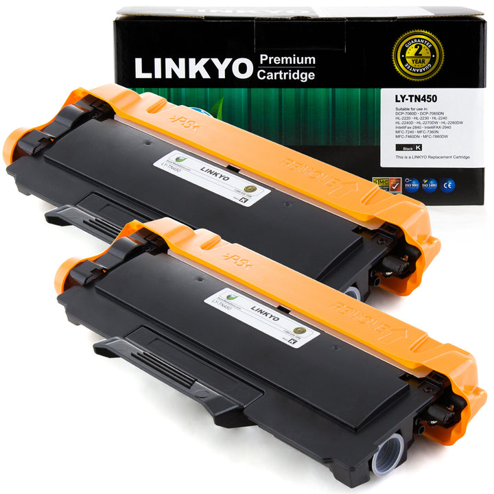 LINKYO Replacement Toner Cartridge for Brother TN450 (Black, 2-Pack)