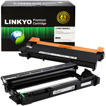 LINKYO Compatible Toner Cartridge and Drum Unit Set Replacement for Brother TN660 TN-660 DR630 DR-630 (1 Toner Cartridge, 1 Drum Unit)
