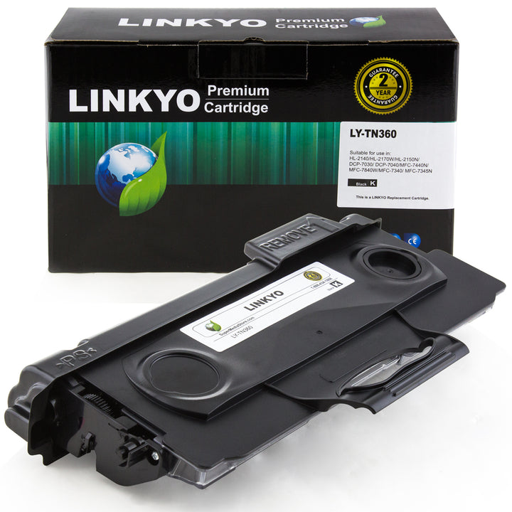 LINKYO Replacement Black Toner Cartridge for Brother TN360