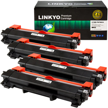 LINKYO Replacement for Brother TN760 TN-760 High Yield Toner Cartridges (Black, 4-Pack)