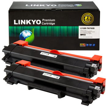 LINKYO Replacement for Brother TN760 TN-760 High Yield Toner Cartridges (Black, 2-Pack)