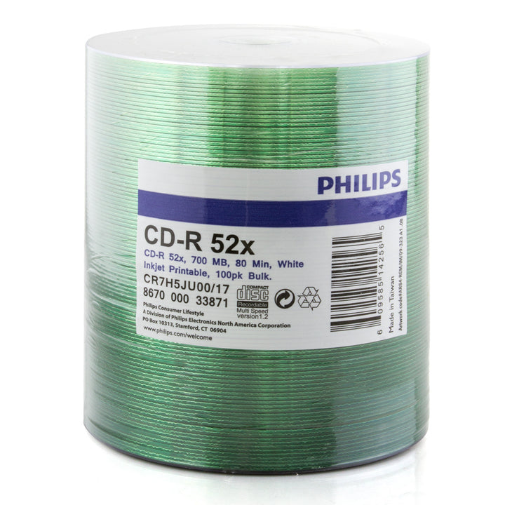 Philips (CR7H5JU00/17) Duplication Grade 52X CD-R White Inkjet Hub Printable Media - 100 Pack