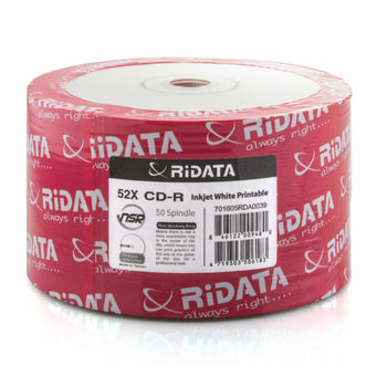 Ritek Ridata (R80JS52-RD-IWN50) 52X CD-R White Inkjet Hub Printable Media - 50 Pack
