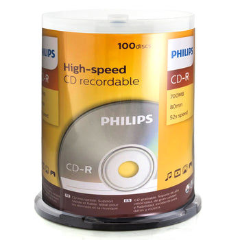 Philips Branded 52X CD-R Media 700MB 100 Pack in Cake Box (D52N650)