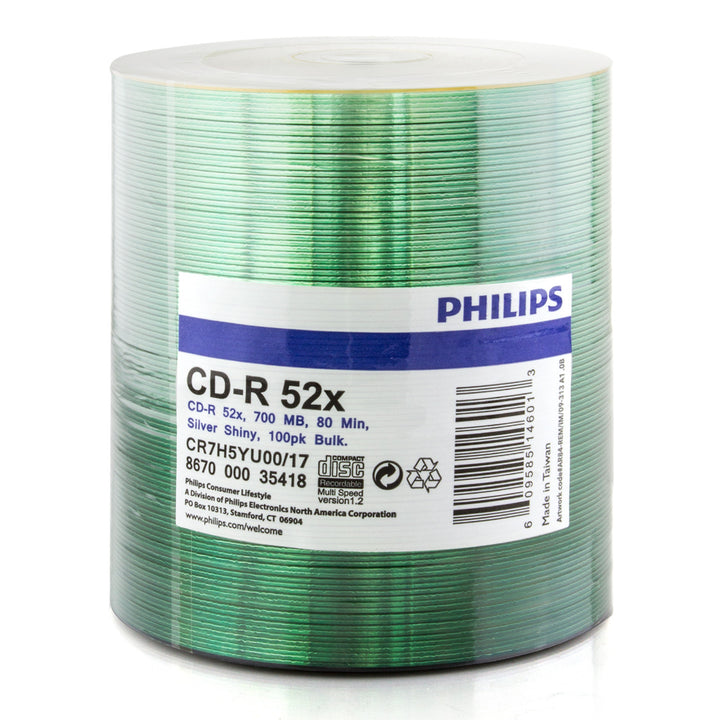 Philips (CR7H5YU00/17) Duplication Grade 52X CD-R Shiny Silver Media - 100 Pack
