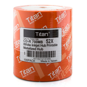 Titan (T5881189) Duplication Grade 52X CD-R White Inkjet Metalized Hub Printable Media - 100 Pack