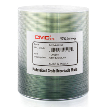 CMC Pro Taiyo Yuden (TCDR-ZZ-SK) 52X CD-R Silver Lacquer Media Tape Wrap - 100 Pack