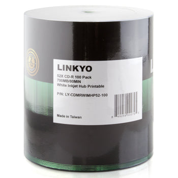 LINKYO 52X CD-R White Inkjet Metalized Hub Printable Media - 100 Pack