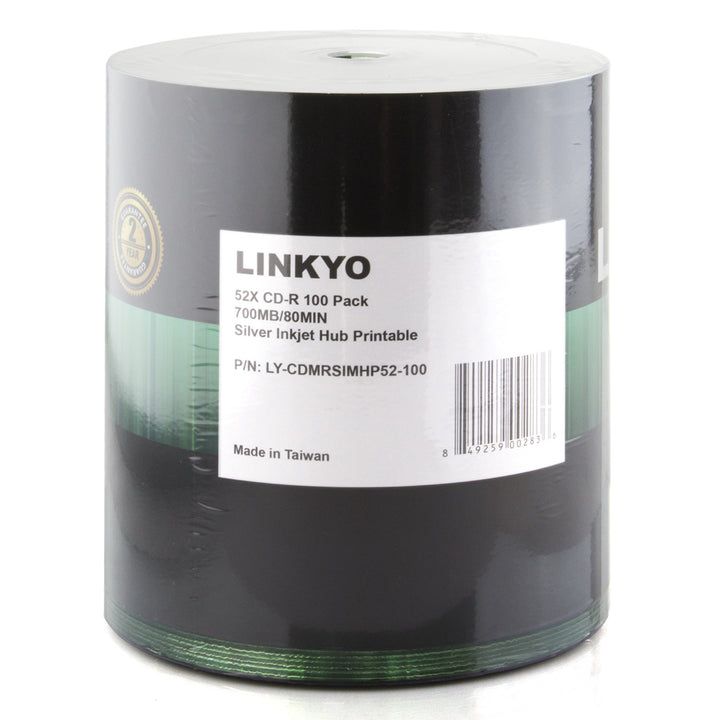 LINKYO 52X CD-R Silver Inkjet Metalized Hub Printable Media - 100 Pack