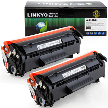 LINKYO Replacement Toner Cartridge for Canon 104 (Black, 2-Pack)