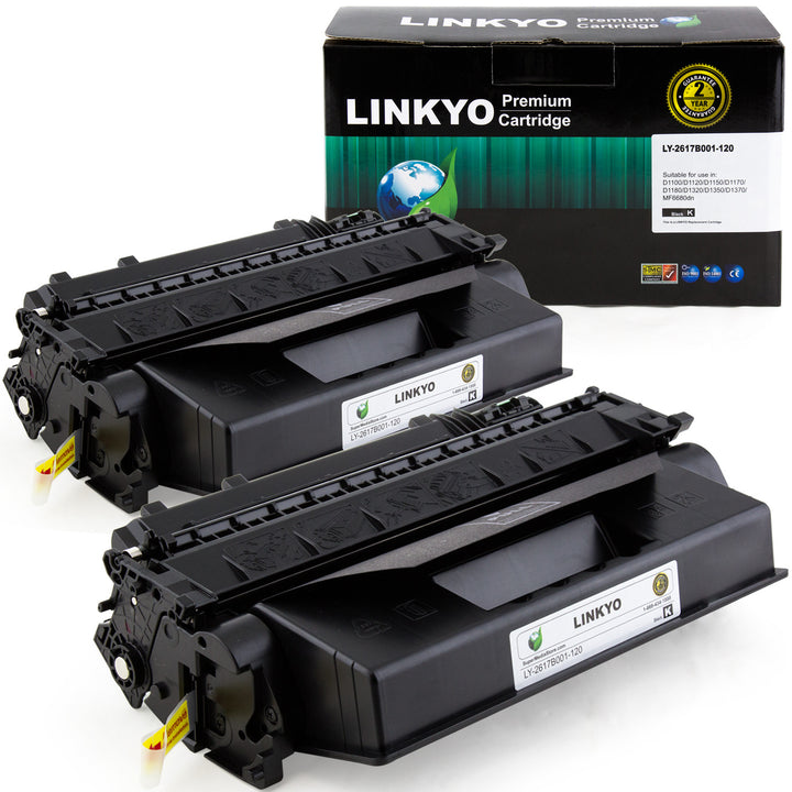 LINKYO Replacement Black Toner Cartridge for Canon 120 (Black, 2-Pack)