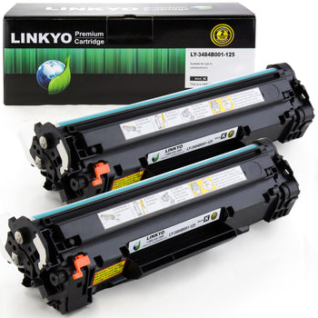 LINKYO Replacement Toner Cartridge for Canon 125 (Black, 2-Pack)