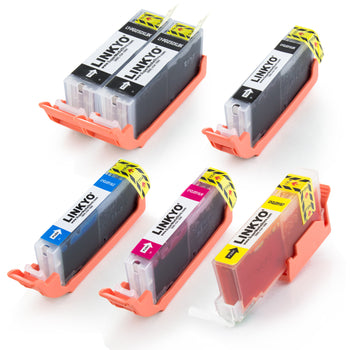 LINKYO Replacement 6-Color Ink Set for Canon PGI-250XL CLI-251XL (2x PGI Black, CLI Black, Cyan, Magenta, Yellow)