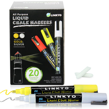 LINKYO 20-Color Liquid Chalk Marker Pen with Reversible Tip