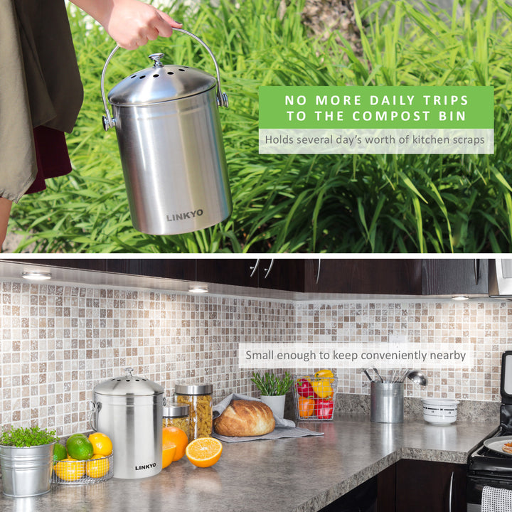 linkyo compost bin 4 filters stainless steel kitchen composter 1 gallon