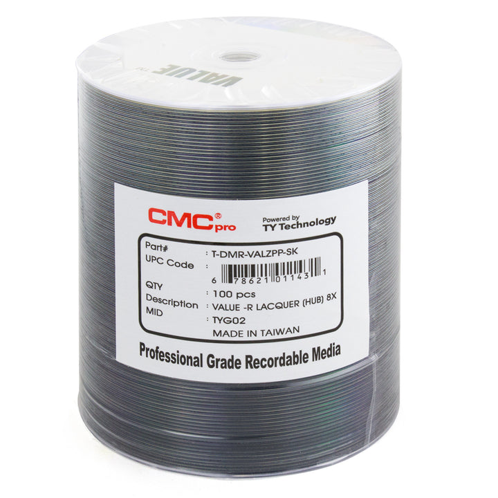 CMC Pro Taiyo Yuden (TDMR-VALZPP-SK) 8X to 16X DVD-R Valueline Silver Lacquer Metalized Hub Media - 100 Pack