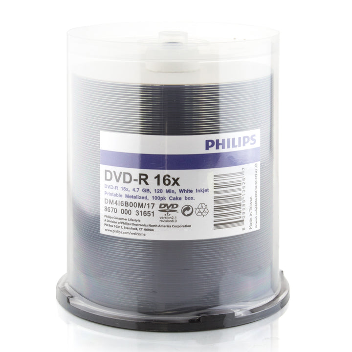 Philips (DM4I6B00M/17) Duplication Grade 16X DVD-R White Inkjet Metalized Hub Printable Media - 100 Pack