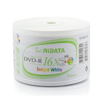 Ritek Ridata (DRD-4716-RDIW50N) 16X DVD-R White Inkjet Metalized Hub Printable Media - 50 Pack