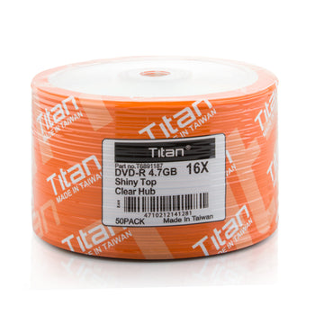 Titan (T6891187) 16X DVD-R Shiny Silver Clear Hub Media - 50 Pack