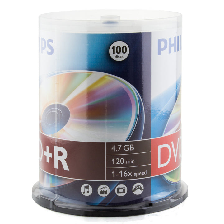Philips Branded 16X DVD+R Media 100 Pack in Cake Box (DR4S6B00F/17)