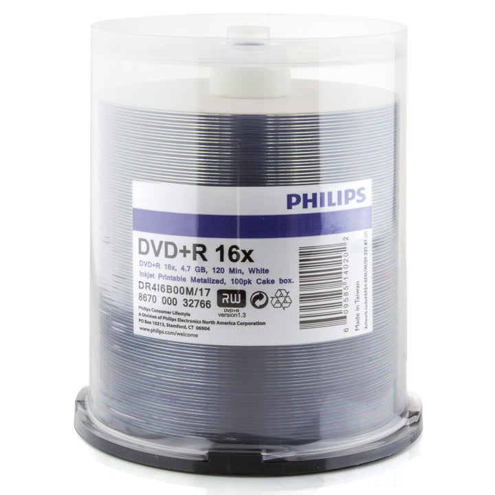 Philips DVD+R Duplication Grade White Inkjet Hub Printable 16X Media 100 Pack in Cake Box (DR4I6B00M/17)