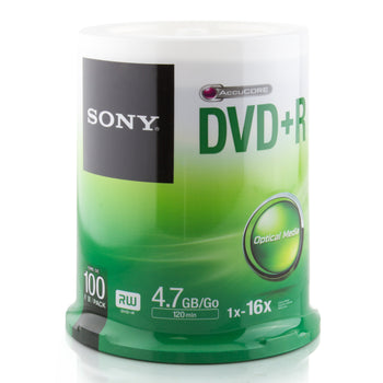 Sony Branded 16X DVD+R Media 100 Pack in Cake Box (100DPR47SP)
