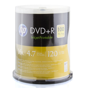 HP (DR16WJH100CB) 16X DVD+R White Inkjet Hub Printable Media - 100 Pack