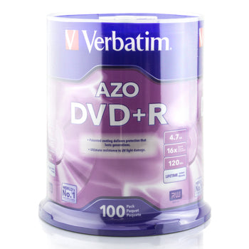 Verbatim Branded 16X DVD+R Media 100 Pack in Cake Box (95098)