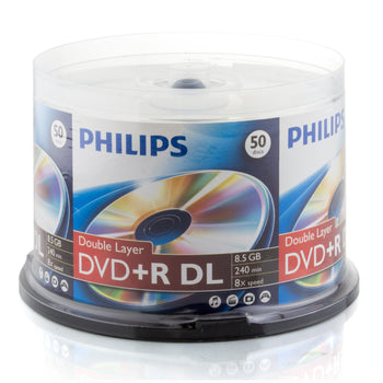 Philips Branded DVD+R DL 8X 8.5GB Double Layer Media 50 Pack in Cake Box (DR8S8B50F/17)