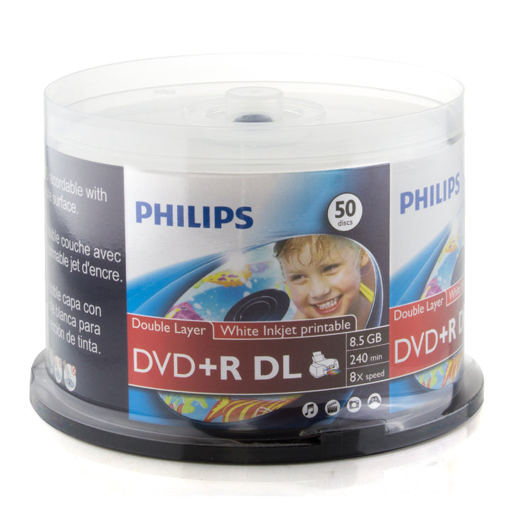 Philips White Inkjet Printable 8X DVD+R Media Double Layer DL 8.5GB 50 Pack in Cake Box (DR8I8B50P/17)