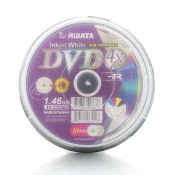 Ritek Ridata White Inkjet Printable 4X Mini DVD-R Media 1.46GB 10 Pack in Cake Box (DRD-144-RDIWNCB10)