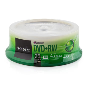 Sony 4X DVD+RW Media 25 Pack in Cake Box (25DPW47SPM)