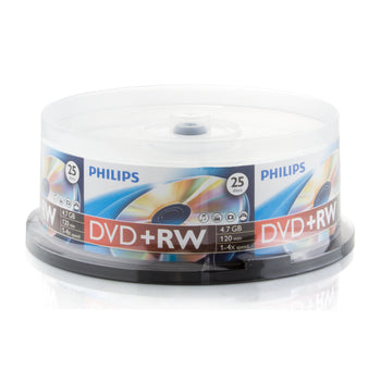 Philips Branded 4X DVD+RW Media 25 Pack in Cake Box (DW4S4B25F/17)