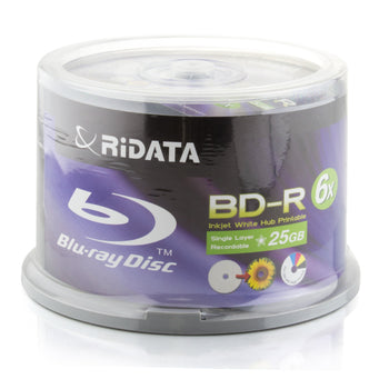 Ritek Ridata Blu-Ray (BD-R) White Inkjet Hub Printable 6X BD-R Media 25GB 50 Pack in Cake Box (BDR-256-RDIWN-CB50)