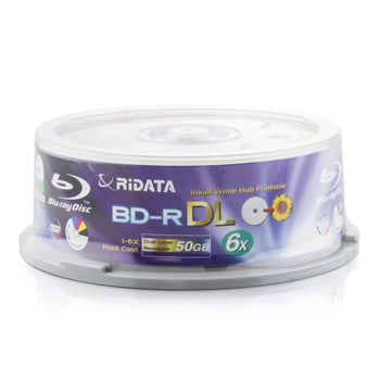 Ritek Ridata 50GB Blu-Ray White Inkjet Hub Printable 6X BD-R Media Dual Layer 25 Pack