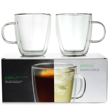 LINKYO Glass Coffee Cups - Double Wall Insulated Mugs (2-Pack)
