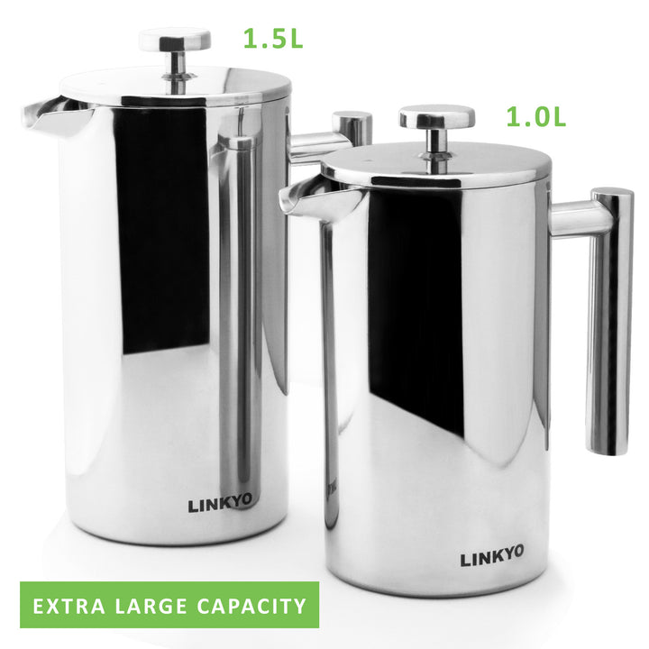 LINKYO Stainless Steel French Press Coffee Maker 1.5L, 50oz