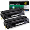 LINKYO Replacement Toner Cartridge for HP 05A CE505A (Black, 2-Pack)