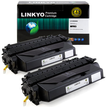 LINKYO Replacement Toner Cartridge for HP 05X CE505X (Black, High Yield, 2-Pack)