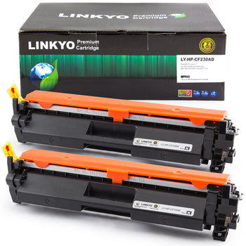 LINKYO Replacement Toner Cartridge for HP 30A CF230A (Black, 2-Pack)
